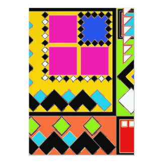 """Awesome shapes and color collage 5"""" x 7"""" invitation card"""