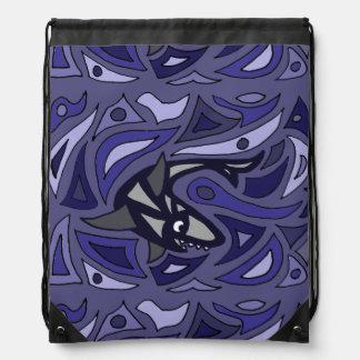 Awesome Shark Art Abstract Cinch Bag