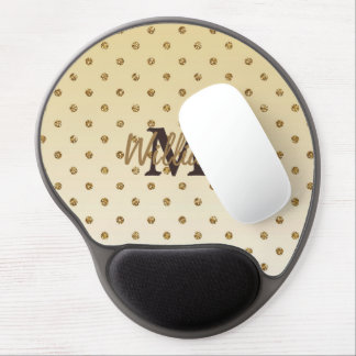 Awesome shining faux glitter gold polka dots gel mouse pad