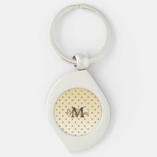 Awesome shining faux glitter gold polka dots Silver-Colored swirl metal keychain