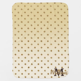 Awesome shining faux glitter gold polka dots stroller blankets