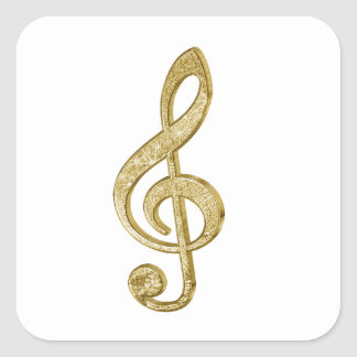Awesome shining gold bar effects treble clef music square stickers