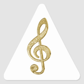 Awesome shining gold bar effects treble clef music triangle sticker