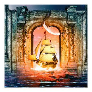 Awesome ship drive by a gate in the sunset card