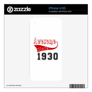 Awesome Since 1930 Decal For iPhone 4