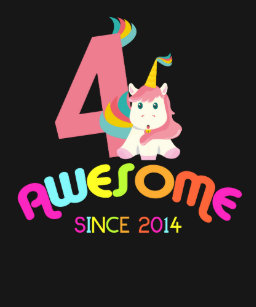 Awesome Since 2014 Unicorn 4th Birthday T Shirt