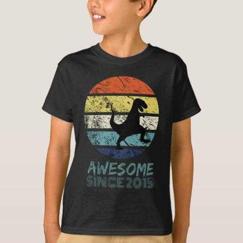 Awesome Since 2015 Black T_rex Dinosaur Tee