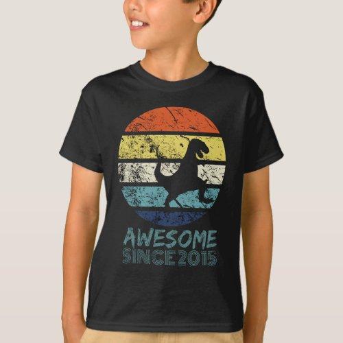 Awesome Since 2015 Walking T_rex Dinosaur Tee