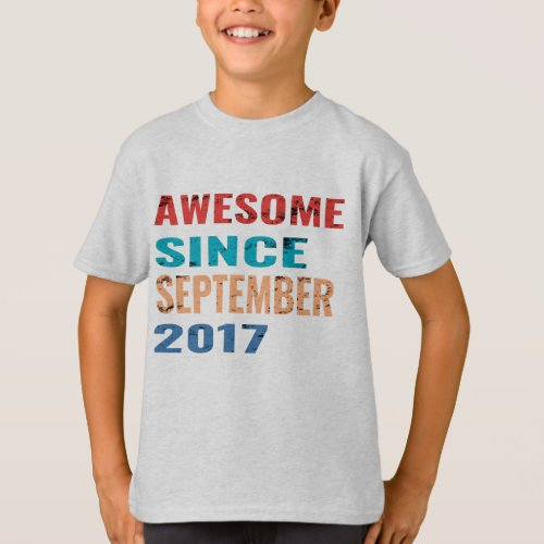 Awesome since september 2017 2nd Birthday Gift 2 T_Shirt