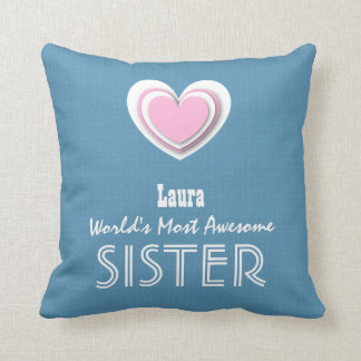 Awesome SISTER Pastel Blue Pink Star and Name A10V Throw Pillow