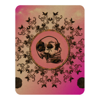 Awesome skull made of rusty metal 4.25x5.5 paper invitation card