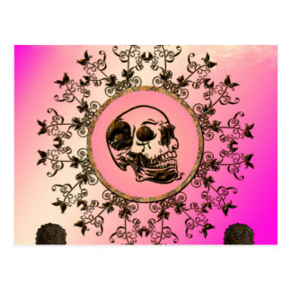 Awesome skull made of rusty metal postcard