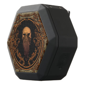 Awesome skull on a frame made of floral elements black bluetooth speaker