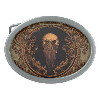 Awesome skull on a frame oval belt buckle