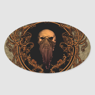 Awesome skull oval sticker