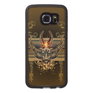 Awesome skull with floral elements wood phone case