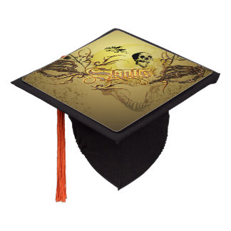Awesome skull with roses graduation cap topper