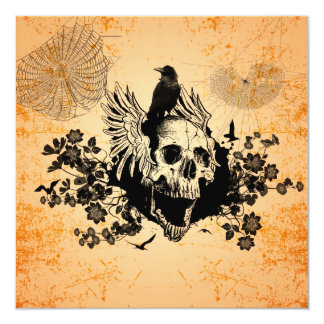 Awesome skull with wings and crow card