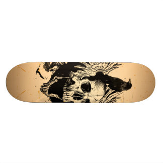 Awesome skull with wings and crow skateboard