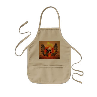 Awesome skull with wonderful roses and wings kids' apron