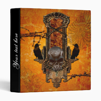 Awesome skulls and crow 3 ring binder