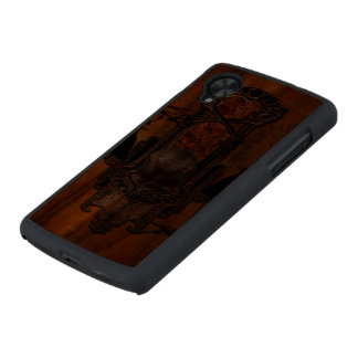 Awesome skulls and crow carved® walnut nexus 5 slim case