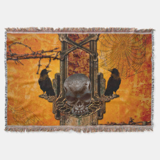 Awesome skulls and crow throw blanket