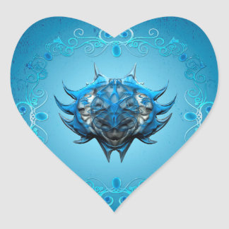 Awesome skulls heart sticker