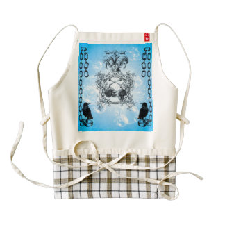 Awesome skulls with crow and floral elements zazzle HEART apron