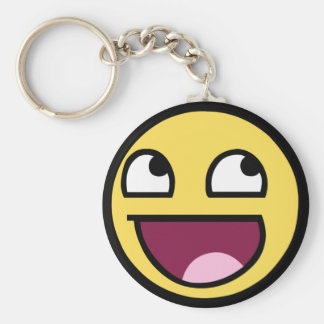 Awesome Smiley Basic Round Button Keychain