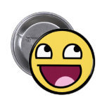 awesome smiley face awesome face pinback button