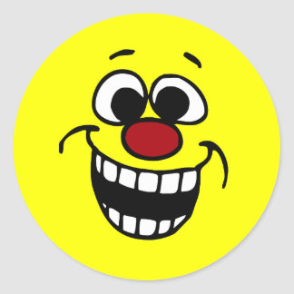 Awesome Smiley Face Grumpey Classic Round Sticker