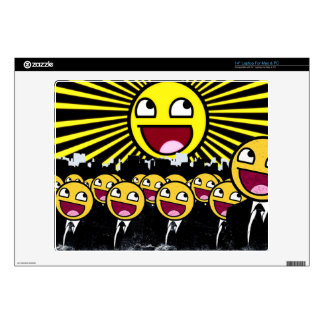 """Awesome Smiley Faces Yellow Emoticon 14"""" Laptop Skins"""