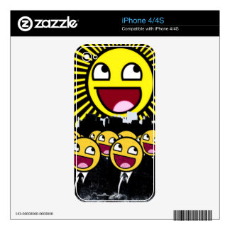 Awesome Smiley Faces Yellow Emoticon iPhone 4 Decal