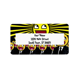 Awesome Smiley Faces Yellow Emoticon Label