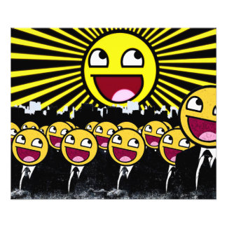 Awesome Smiley Faces Yellow Emoticon Photo Print