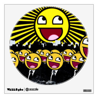 Awesome Smiley Faces Yellow Emoticon Wall Decal
