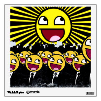 Awesome Smiley Faces Yellow Emoticon Wall Sticker