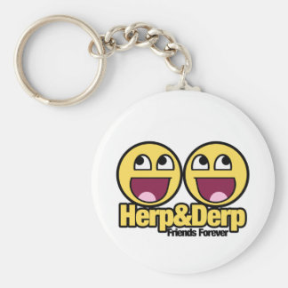 Awesome Smiley Herp and Derp Basic Round Button Keychain