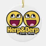 Awesome Smiley Herp and Derp Double-Sided Ceramic Round Christmas Ornament