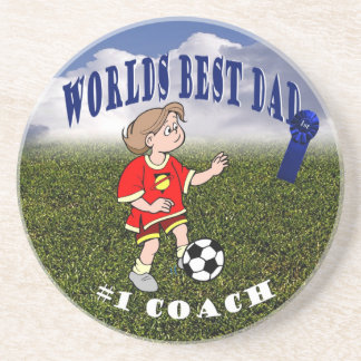 Awesome Soccer Dad and Daughter Soccer Practice Sandstone Coaster