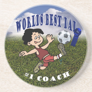Awesome Soccer Dad and Son Soccer Practice Drink Coaster