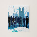 Awesome social design in blue jigsaw puzzle