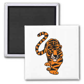 Awesome Stalking Tiger Art 2 Inch Square Magnet