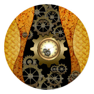 Awesome steampunk design with clocks and gears card