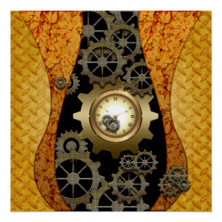 Awesome steampunk design with clocks and gears poster
