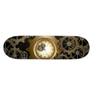Awesome steampunk design with clocks and gears skateboard