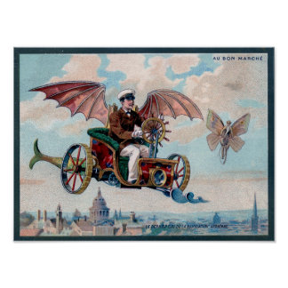 Awesome Steampunk Flying Car Poster