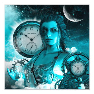 Awesome steampunk lady in the universe magnetic card
