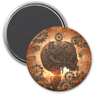 Awesome steampunk Skull 3 Inch Round Magnet